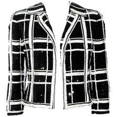 Valentino Black & White Sequined Check Crop Jacket