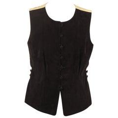Hermes Paris Vintage Black Suede Vest with Silk Panel Size 40