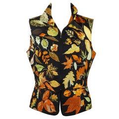 Hermes Paris Vintage Silk Tourbillon Vest Jacket Size 40