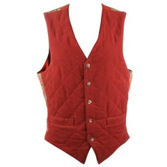Hermes Paris Vintage Red Quilted Men Vest with Silk Panel Size 46
