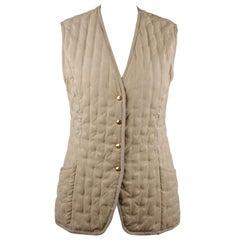 Hermes Paris Vintage Beige Embroidered Padded Vest Size 38