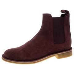 Bottega Veneta Burgundy Suede Voortrekking Chelsea Ankle Boots Size 40.5