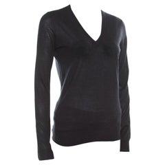 Gucci Black Cashmere Silk Knit V Neck Sweater S