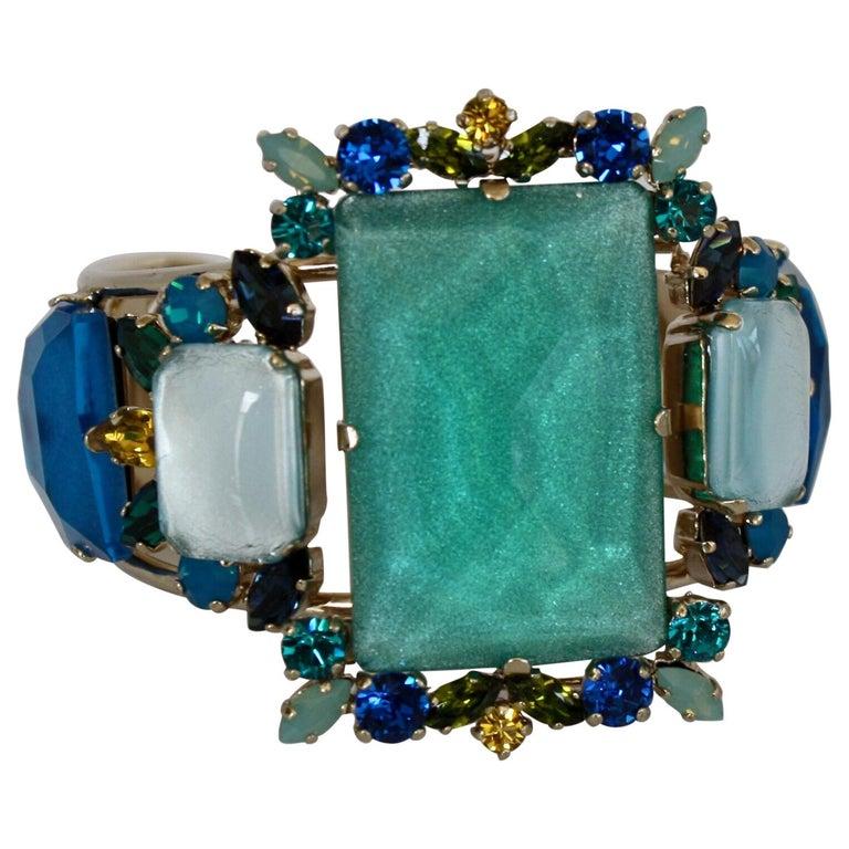 Philippe Ferrandis Aqua, Blue, and Yellow Adjustable Cuff For Sale