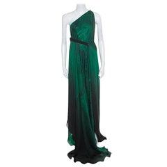 Roberto Cavalli Green and Black Ombre Feather Printed Silk Draped Maxi Dress L