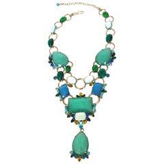 Philippe Ferrandis Aqua, Blue, and White Statement Necklace