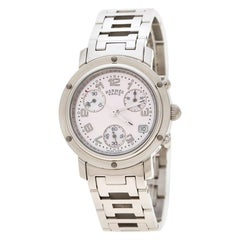 Hermes Pink Mother of Pearl Clipper Chronograph CL1.310 Women's Wristwatch 31 mm