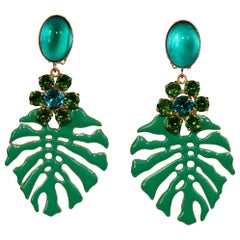 Philippe Ferrandis Palm Leaf Clip Earrings