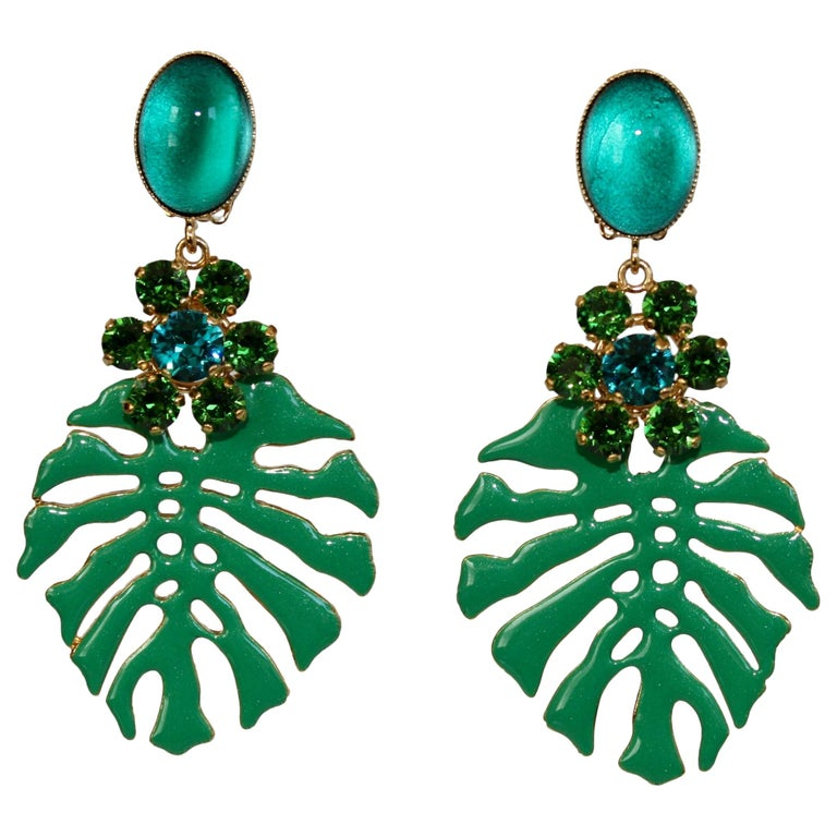 Philippe Ferrandis Palm Leaf Clip Earrings For Sale