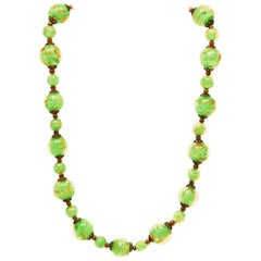 Glass necklace Murano with gold flux