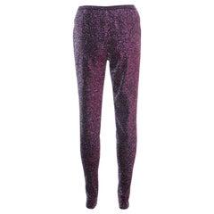 Chanel Iridescent Plum Lurex Knit High Waist Leggings L