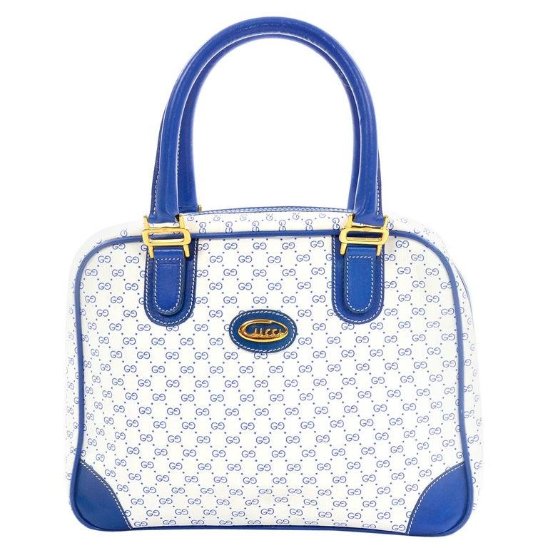 7336017d9323 Vintage Gucci Handbag Monogram Boston Bag in Bright Blue & White W/ Script  Logo For
