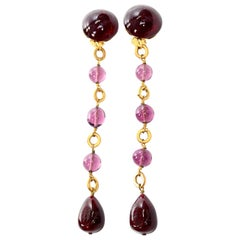 Vintage Chanel Gripoix Purple Drop Gold Earrings Victoire de Castellane