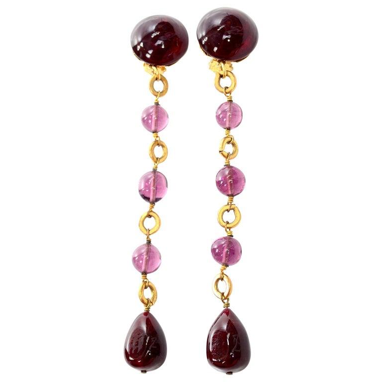 Vintage Chanel Gripoix Purple Drop Gold Earrings Victoire de Castellane  For Sale