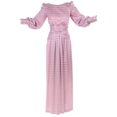 1970s Vintage Estevez Evening Dress in Pink Diamond Tonal Pattern w Ruching