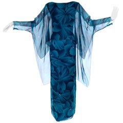 Vintage Evening Dress in Bold Chiffon Print W Sheer Overlay & Dramatic Sleeves
