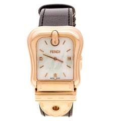 Fendi White Mother Pearl Rose Gold Plated  3800G Women's Wristwatch  33mm