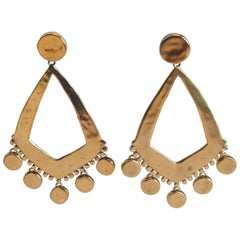 Goossens Paris Gold Statement Armure Clip Earrings
