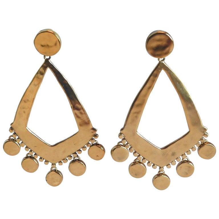 Goossens Paris Gold Statement Armure Clip Earrings For Sale