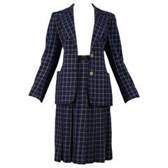 Vintage Celine Navy & White Windowpane Skirt Suit
