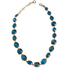 Goossens Paris Aqua Blue Tinted Rock Crystal Necklace