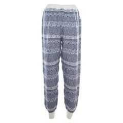 Chanel Navy and Cream Fair Isle Cashmere Knit Mid Rise Jogger Pants 3XL