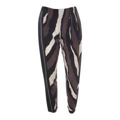 Fendi Brown Printed Silk Elasticized Waist Tapered Pants S