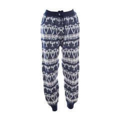 Chanel Navy Blue and Cream Fair Isle Cashmere Knit Mid Rise Jogger Pants L