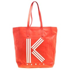 KENZO Red Leather K Logo Shopper Tote