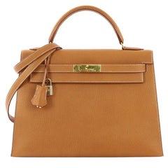 Hermes Kelly Handbag Natural Ardennes with Gold Hardware 32