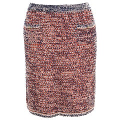 Chanel Navy Blue and Orange Textured Pencil Skirt L