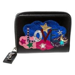 Saint Laurent Black Leather Love Patched Zip Wallet