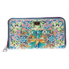 Dolce & Gabbana Multicolor Majolica Printed Leather Zip Around Wallet
