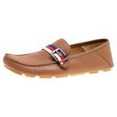Gucci Brown Leather Web Buckle Driver Loafers Size 41.5