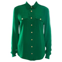 Balmain Green Silk Gold Button Detail Long Sleeve Classic Shirt M