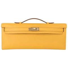 Hermes Kelly Cut Bag Jaune Ambre Clutch Swift Gold Hardware New