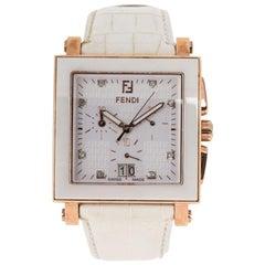 Fendi White Rose Gold Plated Steel Ceramic Quadro 6500G Women's Wristwatch 39 mm