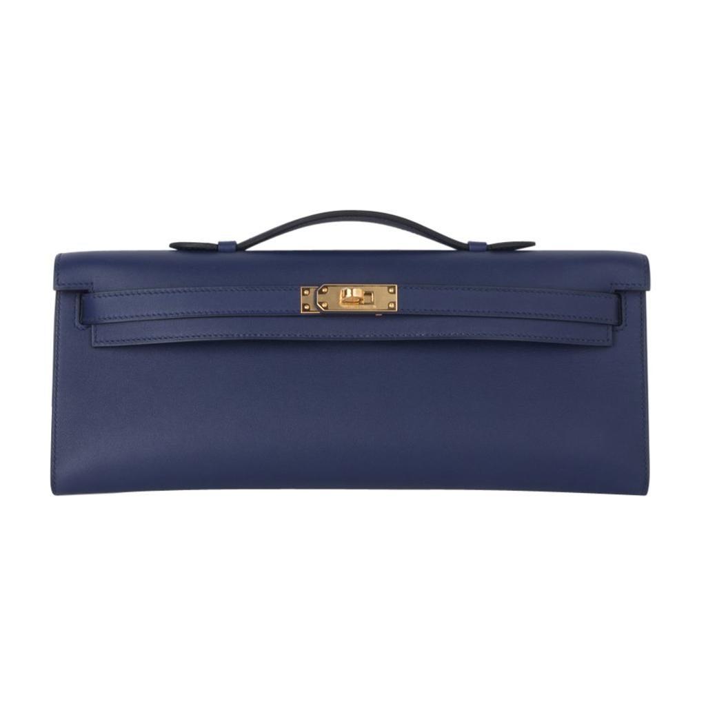Hermes Kelly Cut Bag Blue Encre Clutch Swift Gold Hardware New