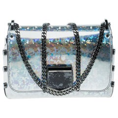 Jimmy Choo Holographic Silver Patent Leather Lockett Shoulder Bag
