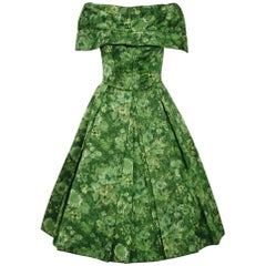 1950's Peggy Hunt Green Watercolor Floral Silk Portrait-Collar Pleated Dress