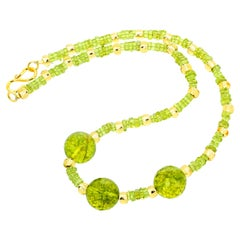 "Gemjunky Candy Jewelry 18"" Handmade Large Natural Bright Green Peridot Necklace"