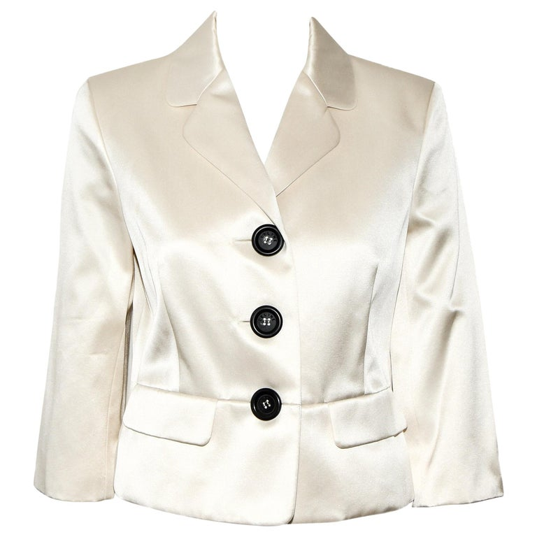 Celine Silk Blend Cropped Jacket With Oversize Buttons 40 EU For Sale