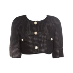 Chanel Black Perforated Tricot Knit Pearl Button Detail Bolero Jacket M