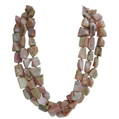 Pink Opal Nuggets 925 Sterling Silver Gemstone Necklace