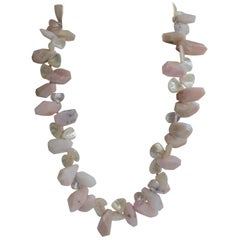 Pink Opal Rock Crystal Mother of Pearl 925 Sterling Silver Gemstone Necklace