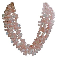 Rose Quartz Rock Crystal, Cultured Pearl 925 Silver Gemstone Necklace