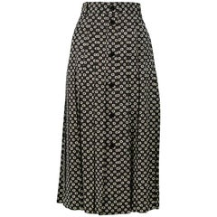 Vintage Celine Black & White Pleated Skirt