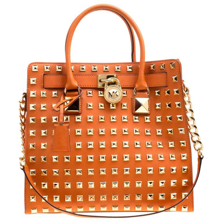 243f628cc6be Michael Michael Kors Leather Large Studded Hamilton Top Handle Shoulder Bag  For Sale