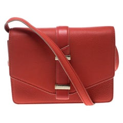 Victoria Beckham Coral Red Leather Mini Crossbody Bag