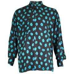 Christopher New Vintage Men's Long Sleeve Black & Green Rayon Shirt, 1990s
